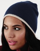Dames Muts beechfield Two-Tone Beanie Knitted Hat B44c